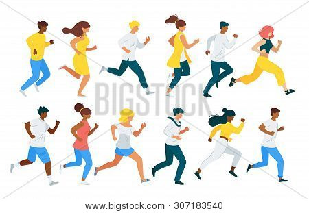 People Running Flat Vector Characters Set. Leadership Race, Pursuit Metaphor. Healthy Lifestyle, Men