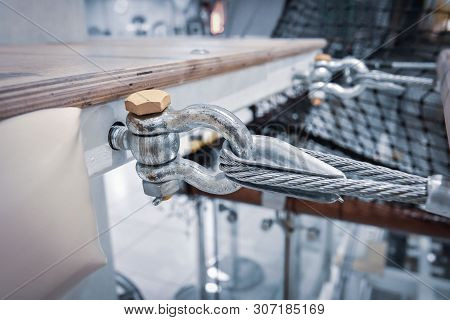 Fastening Of A Steel Cable To A Metal Construction Close Up