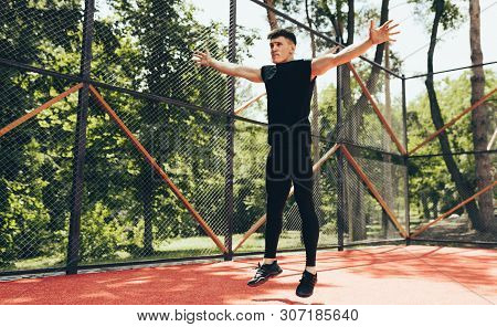 Young Athletic Muscular Man Doing Core Workout On Sportsground. Caucasian Fitness Male Exercis Exerc