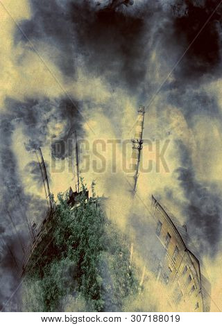 Old rural factory with smokestack and heavy smoke, ecological problem concept. poster