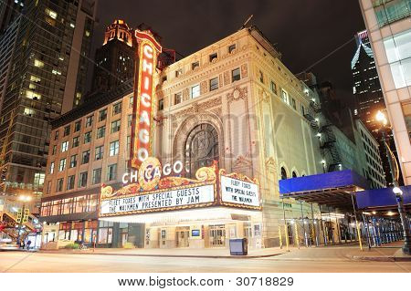 CHICAGO, IL - OCT 6: Chicago Theatre exterior on October 6, 2011 in Chicago, Illinois. Built in 1921, Chicago Theatre was the flagship for the B&K group and was listed as a Chicago Landmark in 1983.