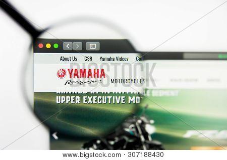 New York, New York State, Usa - 18 June 2019: Illustrative Editorial Of India Yamaha Motor Website H