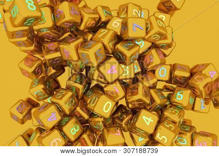 Abstract Cgi Geometric, Bunch Of Number Character Symbol Or Sign. Wallpaper For Graphic Design. 3D R