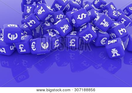 Abstract Cgi Geometric, Bunch Of Currency Character Symbol Or Sign. Wallpaper For Graphic Design. 3D