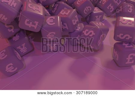 Decorative, Illustrations Cgi Geometric, Bunch Of Currency Character Symbol Or Sign, For Design Text