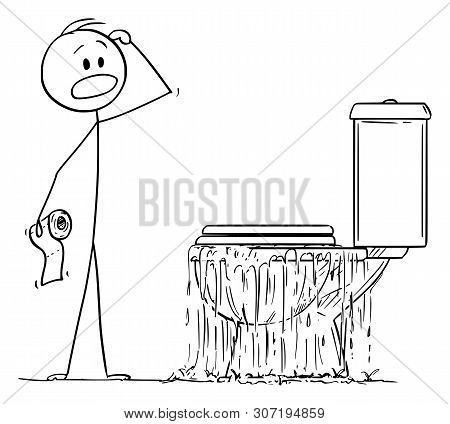 Vector Cartoon Stick Figure Drawing Conceptual Illustration Of Stressed Man Looking At Overflowing T