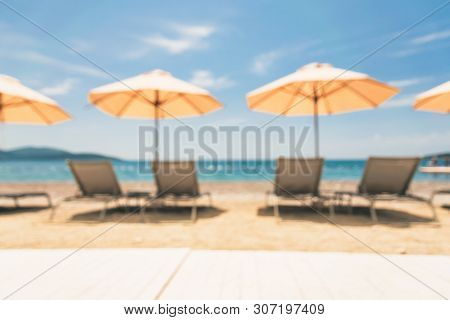 Travel Vacation Sea Destination Blurred. Perfect Beach Landscape Blurred. Travel Vacations Destinati