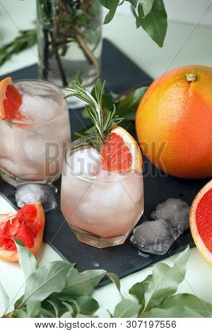 Grapefruit And Rosemary Gin Cocktail Or Margarita, Refreshing Drink With Ice, Cocktail Menu Of Resor