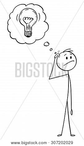 Cartoon Stick Figure Drawing Conceptual Illustration Of Man Thinking About Problem And Just Got An I