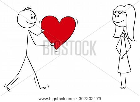 Cartoon Stick Figure Drawing Conceptual Illustration Of Man Or Boy Giving Bog Romantic Red Heart To