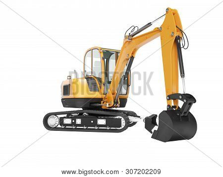 Orange Mini Crawler Excavator On Rubber Tire With Turned Cabin To The Left 3d Render On White Backgr