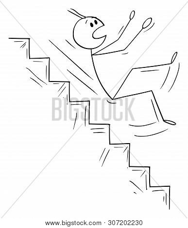 Cartoon Stick Figure Drawing Conceptual Illustration Of Man Or Businessman Falling Down On Dangerous