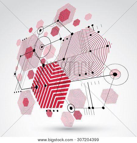 Bauhaus Retro Dimensional Art Vector Background Made Using Grid, Circles And Rhombuses. Geometric Gr