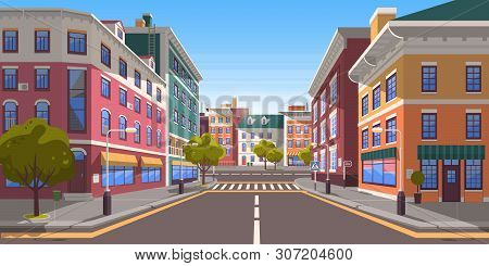 Street Of Town Vector, City With Path And Roads, Pedestrian Crossings And Zebra, Trees And Plants On