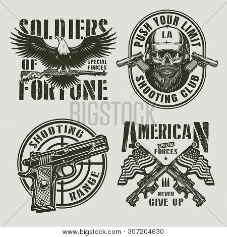 Vintage Monochrome Military Logos With Eagle Holding Carbine Rifle Pistol Gun Sight Bearded And Must