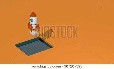 Rocket Launch, Concept Of Startup, New Business. Copy Space, Isometric View (3d Render)