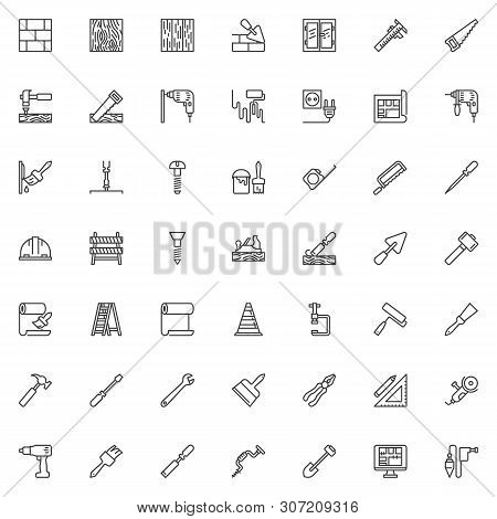 Construction And Home Repair Tool Line Icons Set. Linear Style Symbols Collection, Outline Signs Pac