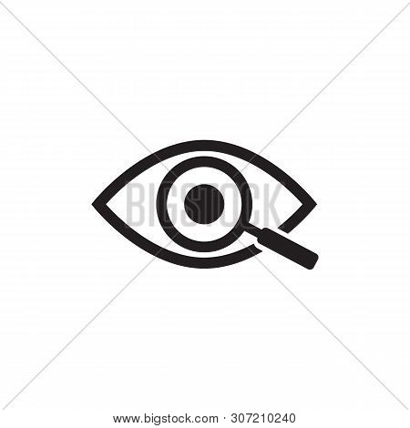 Magnifier With Eye Outline Icon. Find Icon, Investigate Concept Symbol. Eye With Magnifying Glass. A