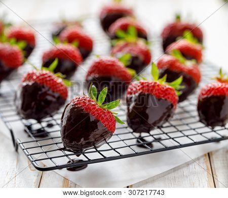 Strawberry Dessert, Dark Chocolate Covered Strawberries, Fresh Strawberries Dipped In Melted Dark Ch
