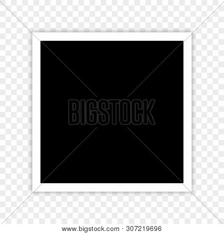 Template Retro Realistic Frame Photo On Transparent Background. Vector Illustration For Your Photos