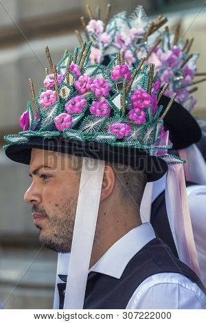 Timisoara, Romania - June 16, 2019: Traditional Hat Used By Ethnic Germans In Banat Area. The Days O