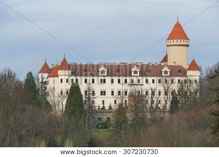 State Castle Konopiste In Autumn, Cloudy Sky