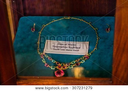 Augusta, Me, Usa - August 8, 2018: A Well Preserved Tourmaline Necklace In The State Of Maine