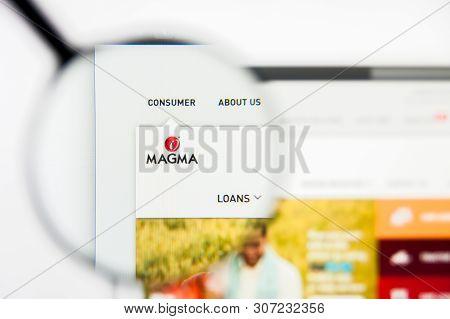 New York, New York State, Usa - 19 June 2019: Illustrative Editorial Of Magma Fincorp Website Homepa
