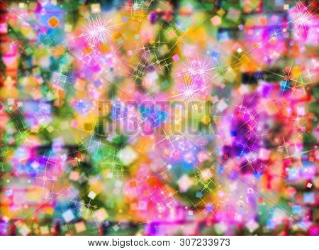 Multicolored Defocused Bokeh Pattern As Abstract Background.