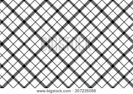 Flower Of Scotland Tartan Black White Pixel Seamless Pattern. Vector Illustration.