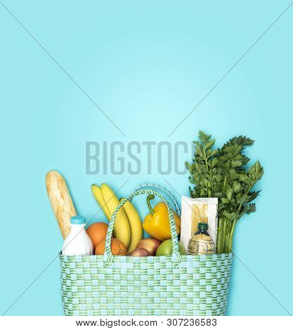Shopping Bag With Fresh Grocery Products