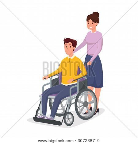 Helping Disabled Individual Vector Illustration. Woman, Caregiver Assisting Man In Wheelchair Cartoo
