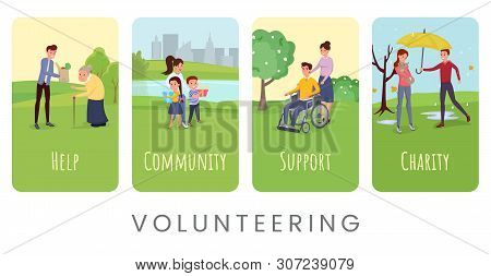 Volunteering Flat Vector Banner Templates Set. Helping Disabled And Lonely People, Supporting Orphan