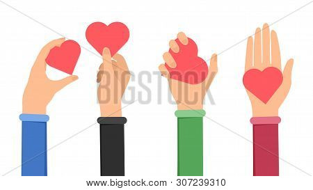 Sharing Love And Peace Flat Illustration. Hands Holding Hearts Symbolising Kindness, Generosity. Tea