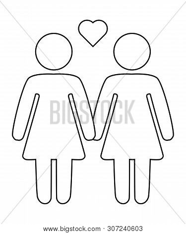 A schematic depiction of a family couple of lesbian women with children, icon poster