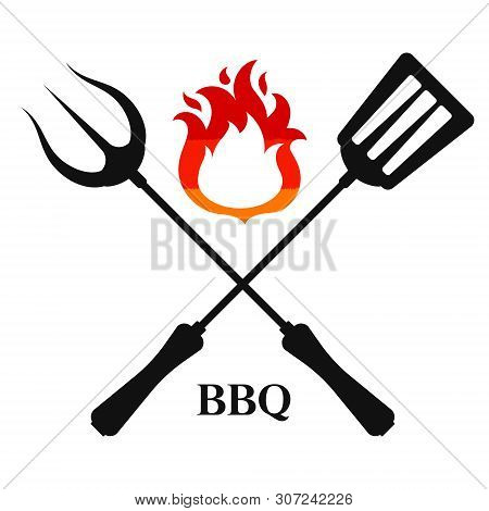 Fork And Spatula With Flame Of Fire For Bbq Design
