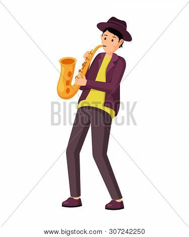 Saxophonist With Instrument Vector Illustration. Professional Musician Wearing Hat, Playing Saxophon