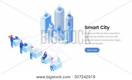 Smart City Isometric Landing Page Template. Futuristic Urban Environment Promotion Webpage Layout Wi