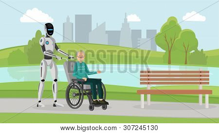 Cyborg With Old Man Outdoor Vector Illustration. Mechanical Caregiver And Disabled Senior In Wheelch
