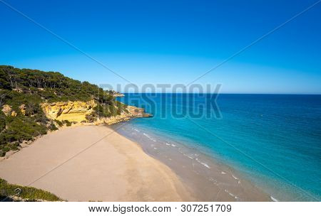 Cala Waikiki beach also Cala Fonda in Tarragona in Marquesa woods of Catalonia Spain