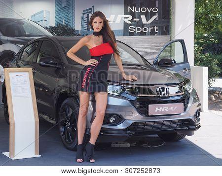 Turin, Italy - Circa June 2019: Stand Girl At Salone Auto Di Torino (meaning Turin Motorshow), Free