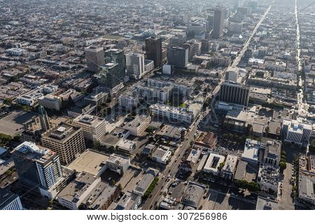 Los Angeles, California, USA - August 6, 2016:  Afternoon aerial view of Wilshire Blvd and 6th Street near downtown LA.
