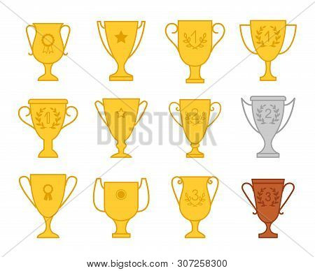 Award Trophy Cup Icons. Win Vector Trophies, Champions Success Prize Awards, Winner Awarding Icons S