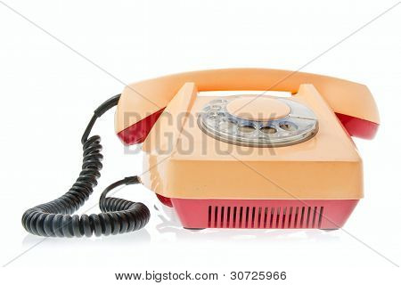 Old Grunge Yellow With Red Telephone