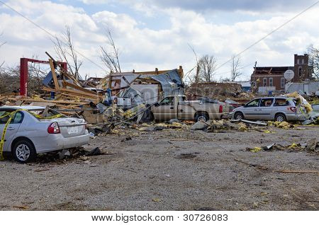 HENRYVILLE, IN - MARCH 4: Aftermath of category 4 tornado that touched down in town on March 2, 2012 in Henryville, IN. 12 deaths and massive loss of property were reported in Indiana
