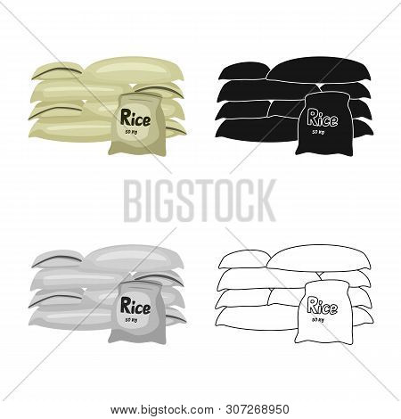 Isolated Object Of Bag And Rice Sign. Set Of Bag And Wholesale Stock Symbol For Web.