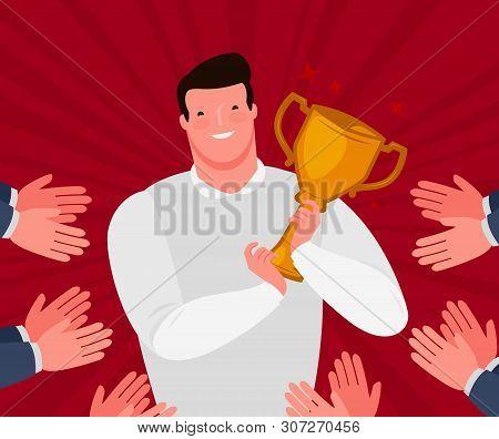 Awarding Ceremony. Presentation Of The Award To The Applause. Cartoon Vector Illustration