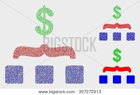 Dot And Mosaic Dollar Aggregation Icons. Vector Icon Of Dollar Aggregation Created Of Scattered Sphe