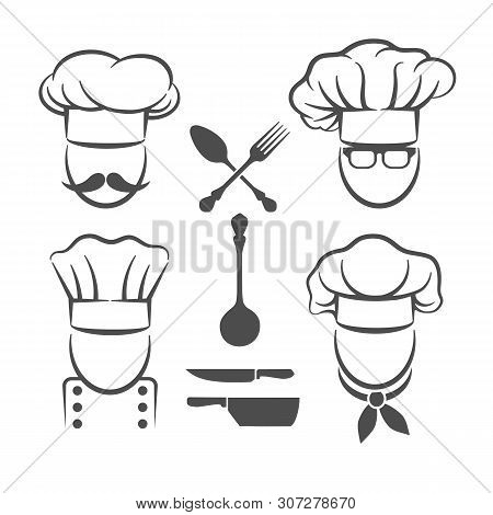 Chef Menu Logo Elements. Restaurant Food And Chef Kitchen Graphic Design Items, Spoon And Fork, Knif