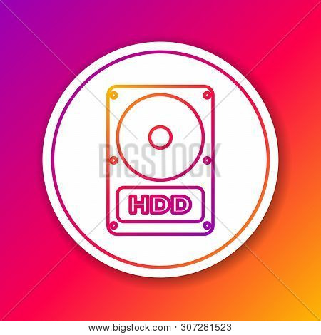 Color Hard disk drive HDD line icon isolated on color background. Circle white button. Vector Illustration poster